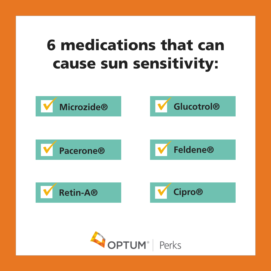 A graphic listing 6 medications that can cause sun sensitivity: Microzide, Glucotrol, Pacerone, Feldene, Cipro, Retin-A.